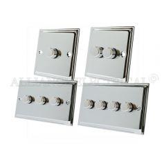 Polished Chrome Slimline LED Light Dimmer 250W - 10 Amp 1 Gang 2G 3G 4G 2 Way
