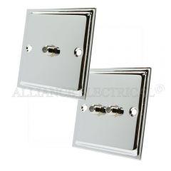Polished Chrome Slimline Sky Socket - Satellite Point 1 Gang 2G