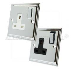 Polished Chrome Slimline Style 13 Amp Single Wall Socket 1 Gang