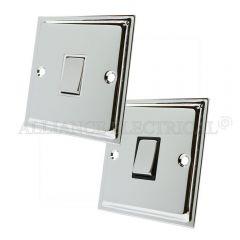 Polished Chrome Slimline Intermediate 1 Gang Switch -10 Amp Single Light Switch