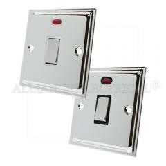 Polished Chrome Slimline 20A Double Pole Switch 20 Amp DP Switch w/Neon