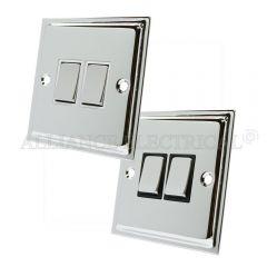Polished Chrome Slimline 2 Gang Switch -10 Amp Double 2 Way Light Switch