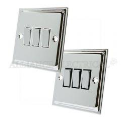 Polished Chrome Slimline 3 Gang Switch -10 Amp Triple 2 Way Light Switch