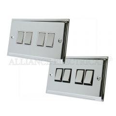 Polished Chrome Slimline 4 Gang Switch -10 Amp Quad 2 Way Light Switch