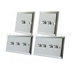 Polished Chrome Slimline Toggle Switch - 10A 1G 2G 3G 4G 2 Way Dolly Light Switch
