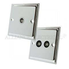 Polished Chrome Slimline TV Socket - Aerial Coaxial Point 1 Gang/ 2G