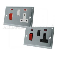 Satin Chrome Slimline Cooker Control Unit with 2 Neon - 45A Cooker Socket