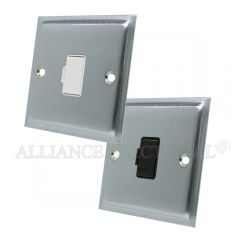 Satin Chrome Slimline Unswitched Fused Spur - 13 Amp Fused Connection Unit