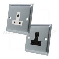 Satin Chrome Slimline Round Pin 5 Amp Socket - 1 Gang Lamp Outlet