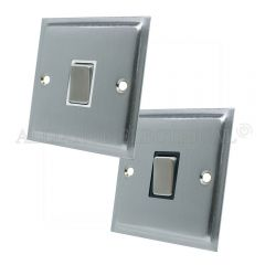 Satin Chrome Slimline Intermediate 1 Gang Switch -10 Amp Single Light Switch