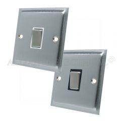 Satin Chrome Slimline 1 Gang Switch -10 Amp Single 2 Way Light Switch