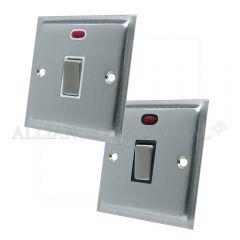 Satin Chrome Slimline 20A Double Pole Switch 20 Amp DP Switch w/Neon