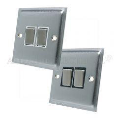 Satin Chrome Slimline 2 Gang Switch -10 Amp Double 2 Way Light Switch