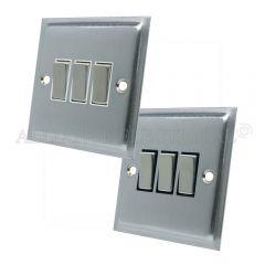 Satin Chrome Slimline 3 Gang Switch -10 Amp Triple 2 Way Light Switch