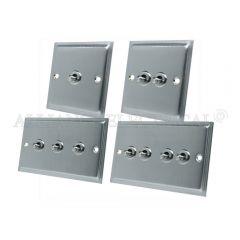 Satin Chrome Slimline Toggle Switch - 10A 1G 2G 3G 4G 2 Way Dolly Light Switch