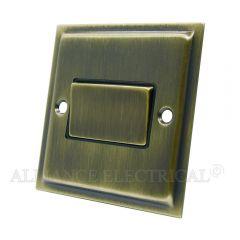 Slimline Antique Brass Fan Isolator Switch 10 Amp 3 Pole Fan Isolation