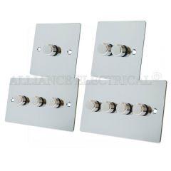 Polished Chrome Flat style LED Light Dimmer 250W - 10 Amp 1 Gang 2G 3G 4G 2 Way