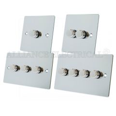 Polished Chrome Flat style Dimmer 400W -10 Amp 1 Gang 2G 3G 4G 2 Way