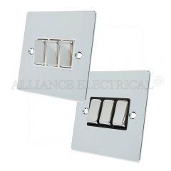 Polished Chrome Flat style 3 Gang Switch 10 Amp Triple 2 Way Light Switch