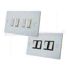Polished Chrome Flat style 4 Gang Switch - 10 Amp 2 Way Quad Light Switch