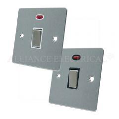 Satin Chrome Flat 20A Double Pole Switch 20 Amp DP Switch w/Neon
