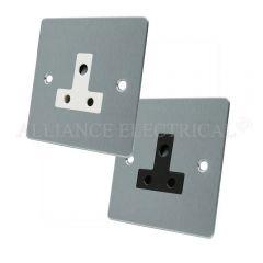 Satin Chrome Flat Round Pin 5 Amp Socket - 1 Gang Lamp Outlet