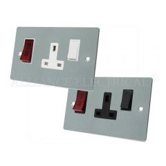 Satin Chrome Flat Cooker Control Unit with Neon - 45A Cooker Socket