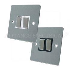 Satin Chrome Flat 2 Gang Switch -10 Amp Double 2 Way Light Switch