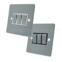 Satin Chrome Flat 3 Gang Switch -10 Amp Triple 2 Way Light Switch