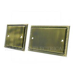 Georgian Antique Brass Blank Plate - Electrical Blanking Single 1G/ Double 2G