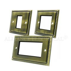 Georgian Antique Brass Data Grid Outlet Face Plate 1 Gang 2G 4G With Frame