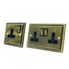 Georgian Antique Brass 13 Amp 1 Gang / 2 Gang Socket / 5 Amp Socket- Single / Double Plug Outlet