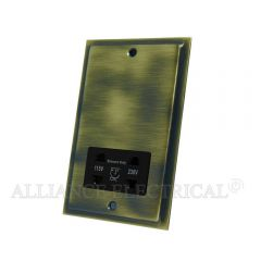 Slimline Antique Brass Shaver Socket Outlet 2 Gang Dual Voltage 115V/230V