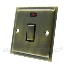 Slimline Antique Brass 20A Double Pole Switch 20 Amp DP Switch w/Neon