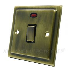 Victorian Antique Brass 20A Double Pole Switch 20 Amp DP Switch w/Neon