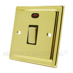 Victorian Polished Brass 20A Double Pole Switch 20 Amp DP Switch w/Neon