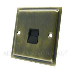Slimline Antique Brass Telephone Master / Slave Socket - BT Phone Socket