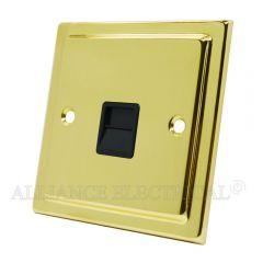 Victorian Polished Brass Telephone Master / Slave Socket - BT Phone Socket