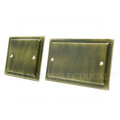 Victorian Antique Brass Blank Plate - Electrical Blanking Single 1G/ Double 2G