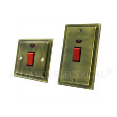 Victorian Antique Brass 45A Cooker Switch - 45 Amp DP Switch w/ Neon