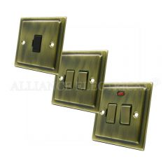 Victorian Antique Brass Switched Fused Spur - 13 Amp Fused Connection Unit