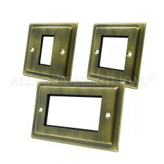 Victorian Antique Brass Data Grid Outlet Face Plate 1 Gang 2G 4G With Frame