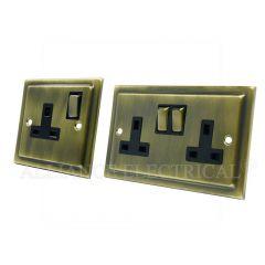 Victorian Antique Brass 13 Amp 1 Gang / 2 Gang Socket / 5 Amp Socket- Single / Double Plug Outlet
