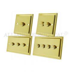 Victorian Polished Brass Light Dimmer 400W - 10A 1 Gang 2G 3G 4G 2 Way