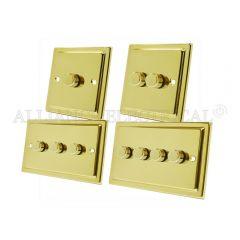 Victorian Polished Brass LED Light Dimmer 250W - 10 Amp 1 Gang 2G 3G 4G 2 Way
