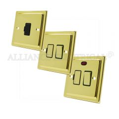 Victorian Polished Brass Switched Fused Spur - 13 Amp Fused Connection Unit