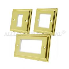 Victorian Polished Brass Data Grid Outlet Face Plate 1 Gang 2G 4G With Frame