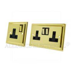Victorian Polished Brass 13 Amp 1 Gang / 2 Gang Socket / 5 Amp Socket- Single / Double Plug Outlet
