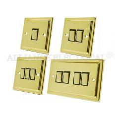 Victorian Polished Brass Light Switch - 10 Amp 1 Gang 2G 3G 4G 2 Way Switch/ Intermediate Switch