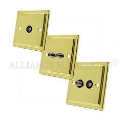 Victorian Polished Brass TV/ Sky Socket - Aerial Coaxial Female/ Satellite Socket